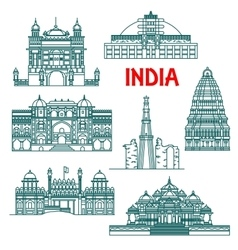 Architectural heritage of India linear icons vector