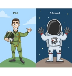 Astronaut And Pilot Characters vector