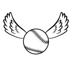 Baseball with wings vector