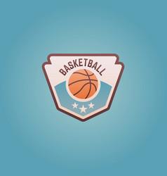 basketball sport team shield emblem vector image