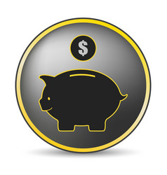 black pig icon vector image