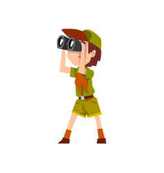 Boy scout character in uniform with binoculars vector