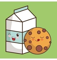 Breakfast design Kawaii milk and cookie icon vector