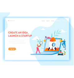 Business startup landing page template characters vector