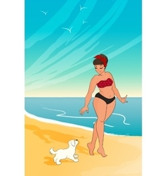 cartoon character girl wearing bikini woman vector image