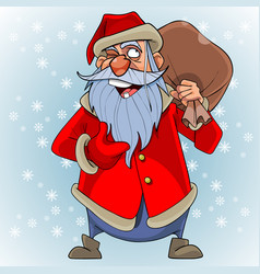 cartoon talking santa claus with a bag on his vector image