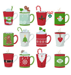 christmas mug holiday decoration at vessel for vector image