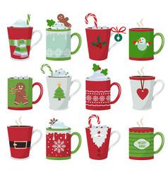 christmas mug holiday decoration at vessel vector image