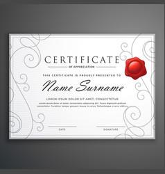 Clean elegant white diploma certificate design vector