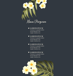 coctail party invitation with tropical flowers of vector image