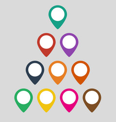 colorful set of map markers on gray background vector image