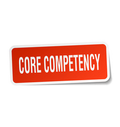 Core competency square sticker on white vector