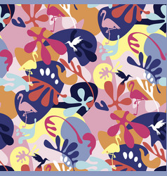 Crazy 90s colors tropical nature seamless pattern vector