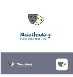 creative masks logo design flat color logo place vector image