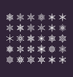 Cute snowflakes collection isolated on dark vector