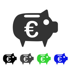 Euro piggy bank flat icon vector