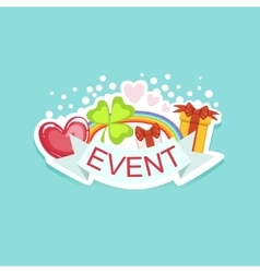 Event Template Label Cute Sticker With Shamrock vector image