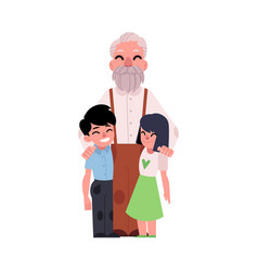 family portrait grandfather hugging grandchildren vector image