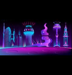fantastic alien city future mars colony vector image