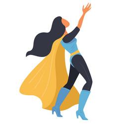 Female super hero wearing mantle wonder woman vector