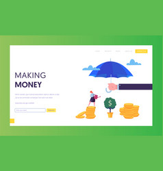 Financial protection money landing page template vector