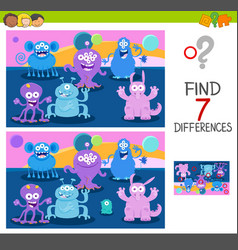 find differences game with monsters vector image