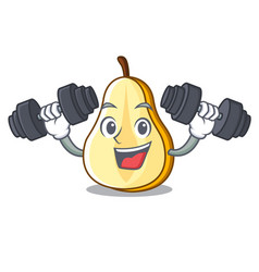 fitness character cartoon fresh green pear whole vector image
