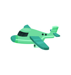 Flat icon of small green plane air vehicle vector