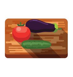fresh eggplant tomato cucumber on a cutting vector image