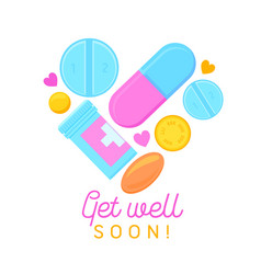 get well soon banner with cartoon pills medicine vector image