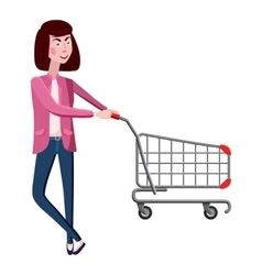 Girl with shopping cart icon cartoon style vector