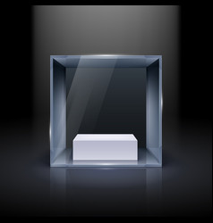 glass showcase in cube form for presentation on vector image