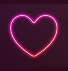 gradient neon heart red-pink glowing border vector image