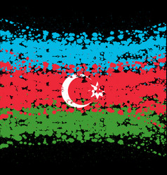 grunge blots azerbaijan flag background vector image