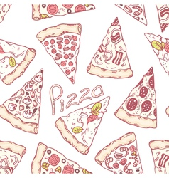 Hand drawn different pizza slices seamless pattern vector image