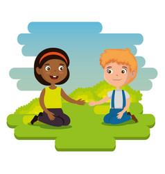 happy kids couple characters vector image