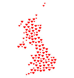 heart collage map of united kingdom vector image