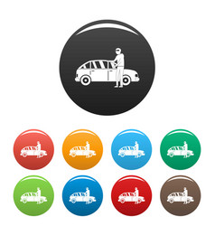 Hijacker icons set color vector