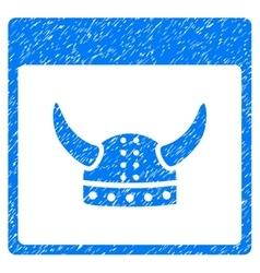 Horned Ancient Helmet Calendar Page Grainy Texture vector image