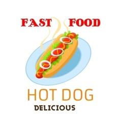 Hot dog icon fast food meal emblem vector