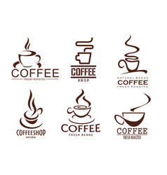 Icons set of coffee cups for cafeteria cafe vector