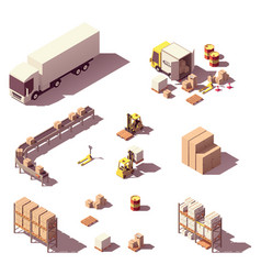 Isometric low poly warehouse equipment vector
