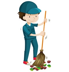 Janitor sweeping the fallen leaves vector