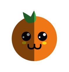 kawaii nice happy orange fruit vector image