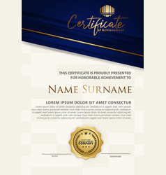 Luxury modern certificate template with flow vector