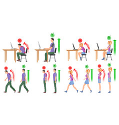 Man and woman in correct and wrong positions vector