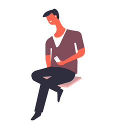 Man using mobile phone male character with vector