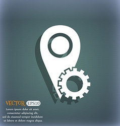Map pointer setting icon sign On the blue-green vector