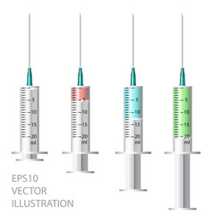 medical syringe set of disposable plastic vector image