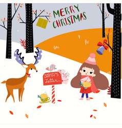 merry christmas and happy new year girl vector image